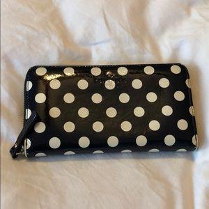 Kate Spade Navy Polka Dot Leather Wallet